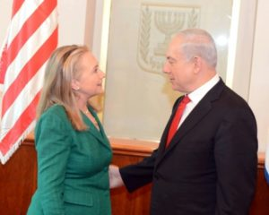 Hillary Clinton and Benjamin Netanyahu meeting