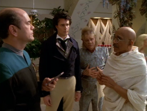 Voyager's doctor talking to famous past figures